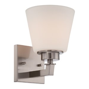 Mobili Brushed Nickel One-Light Bath Vanity with Satin White Glass