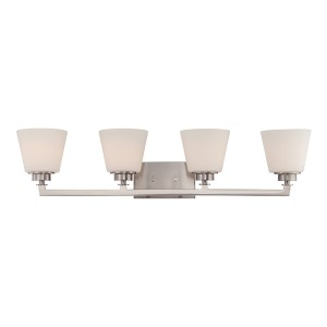 Mobili Brushed Nickel Four-Light Bath Vanity with Satin White Glass