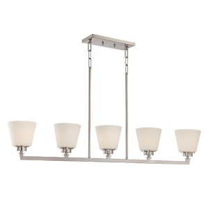 Mobili Brushed Nickel Five-Light Island Pendant with Satin White Glass