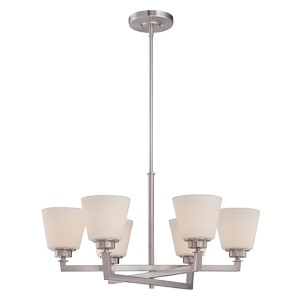 Mobili Brushed Nickel Six-Light Chandelier with Satin White Glass
