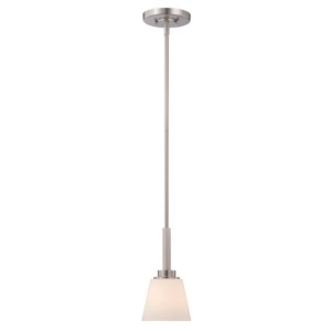 Mobili Brushed Nickel One-Light Mini Pendant with Satin White Glass