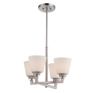 Mobili Brushed Nickel Four-Light Chandelier with Satin White Glass