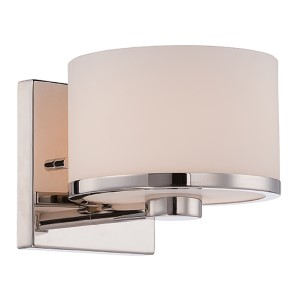 Celine Polished Nickel One-Light Bath Vanity with Etched Opal Glass