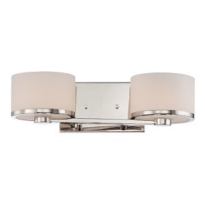 Celine Polished Nickel Two-Light Bath Vanity with Etched Opal Glass