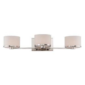 Celine Polished Nickel Three-Light Bath Vanity with Etched Opal Glass