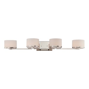 Celine Polished Nickel Four-Light Bath Vanity with Etched Opal Glass
