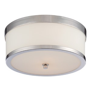 Celine Polished Nickel Two-Light Flush Mount with Etched Opal Glass