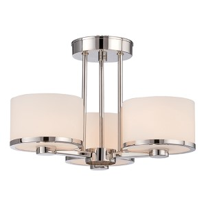 Celine Polished Nickel Three-Light Semi-Flush with Etched Opal Glass
