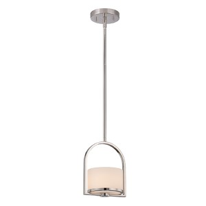 Celine Polished Nickel One-Light Mini Pendant with Etched Opal Glass