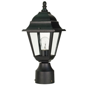 Briton Textured Black One-Light Outdoor Post Mount with Clear Glass