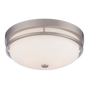 Nevel Brushed Nickel Two-Light Flush Mount with Satin White Glass