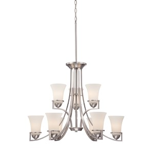 Nevel Brushed Nickel Nine-Light Chandelier with Satin White Glass