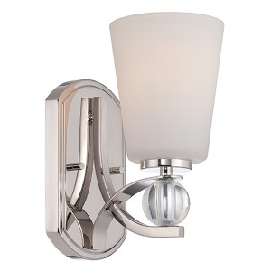 Connie Polished Nickel One-Light Bath Vanity with Satin White Glass
