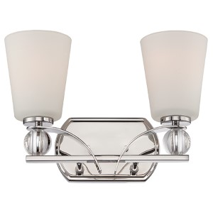 Connie Polished Nickel Two-Light Bath Vanity with Satin White Glass
