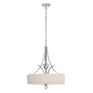 Connie Polished Nickel Three-Light Drum Pendant with Satin White Glass
