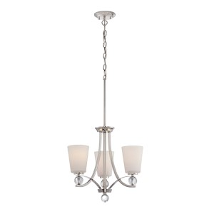 Connie Polished Nickel Three-Light Chandelier with Satin White Glass