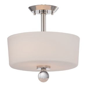 Connie Polished Nickel Two-Light Semi-Flush with Satin White Glass