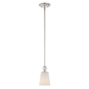 Connie Polished Nickel One-Light Dome Mini Pendant with Satin White Glass