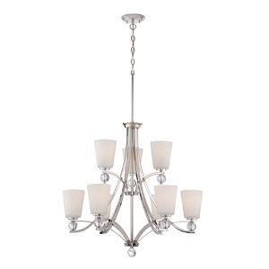 Connie Polished Nickel Nine-Light Chandelier with Satin White Glass