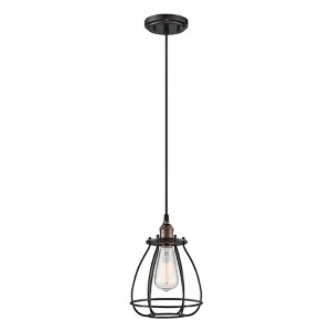 Vintage Rustic Bronze One-Light 7-Inch Wide Caged Mini Pendant