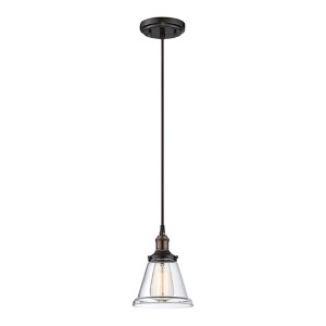 Vintage Rustic Bronze One-Light 7-Inch Wide Dome Mini Pendant with Cone Shaped Clear Glass