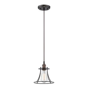 Vintage Rustic Bronze One-Light 8-Inch Wide Caged Pendant
