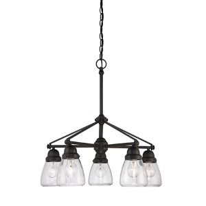 Laurel Sudbury Bronze Five-Light Chandelier with Clear Seeded Glass