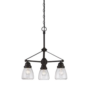 Laurel Sudbury Bronze Three-Light Chandelier with Clear Seeded Glass
