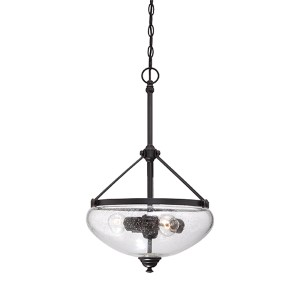 Laurel Sudbury Bronze Three-Light Bowl Pendant with Clear Seeded Glass