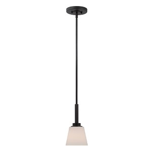 Mobili Aged Bronze One-Light Mini Pendant with Satin White Glass
