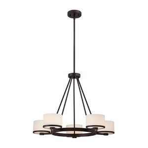 Celine Venetian Bronze Five-Light Chandelier with Etched Opal Glass