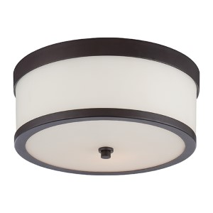 Celine Venetian Bronze Two-Light Flush Mount with Etched Opal Glass