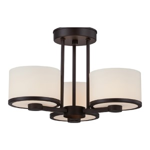 Celine Venetian Bronze Three-Light Semi-Flush with Etched Opal Glass