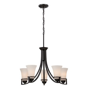 Nevel Sudbury Bronze Five-Light Chandelier with Satin White Glass