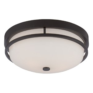 Nevel Sudbury Bronze Two-Light Flush Mount with Satin White Glass