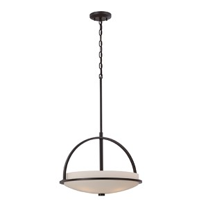 Nevel Sudbury Bronze Three-Light Bowl Pendant with Satin White Glass