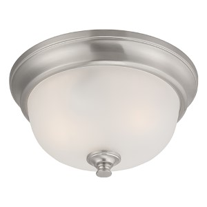Elizabeth Brushed Nickel Two-Light Flush Mount with Frosted Glass