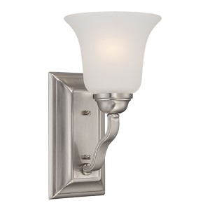 Elizabeth Brushed Nickel One-Light Wall Sconce with Frosted Glass
