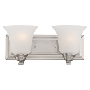 Elizabeth Brushed Nickel Two-Light Wall Sconce with Frosted Glass