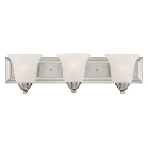 Elizabeth Brushed Nickel Three-Light Wall Sconce with Frosted Glass