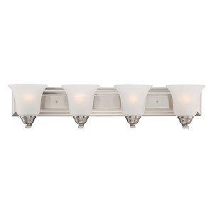 Elizabeth Brushed Nickel Four-Light Wall Sconce with Frosted Glass