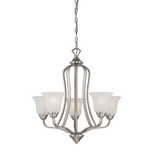 Elizabeth Brushed Nickel Five-Light Chandelier with Frosted Glass