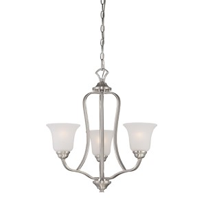 Elizabeth Brushed Nickel Three-Light Chandelier with Frosted Glass