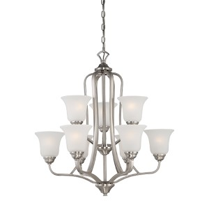 Elizabeth Brushed Nickel Nine-Light Chandelier with Frosted Glass