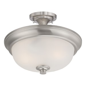 Elizabeth Brushed Nickel Two-Light Semi-Flush with Frosted Glass