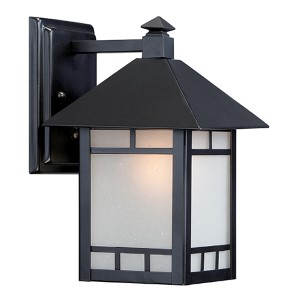 Drexel Stone Black One-Light 7-Inch Wide Outdoor Wall Sconce with Frosted Seed Glass