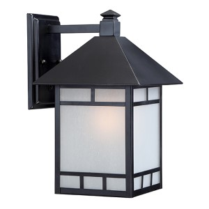 Drexel Stone Black One-Light 9-Inch Wide Outdoor Wall Sconce with Frosted Seed Glass