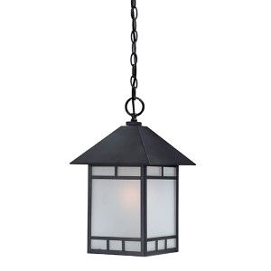 Drexel Stone Black One-Light Outdoor Lantern Pendant with Frosted Seed Glass
