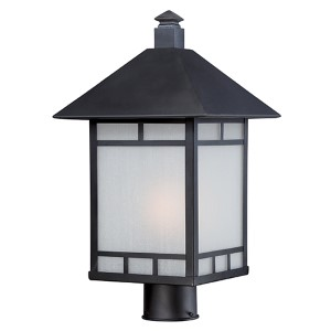 Drexel Stone Black One-Light Outdoor Post Lantern with Frosted Seed Glass