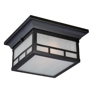 Drexel Stone Black Two-Light Outdoor Flush Mount with Frosted Seed Glass
